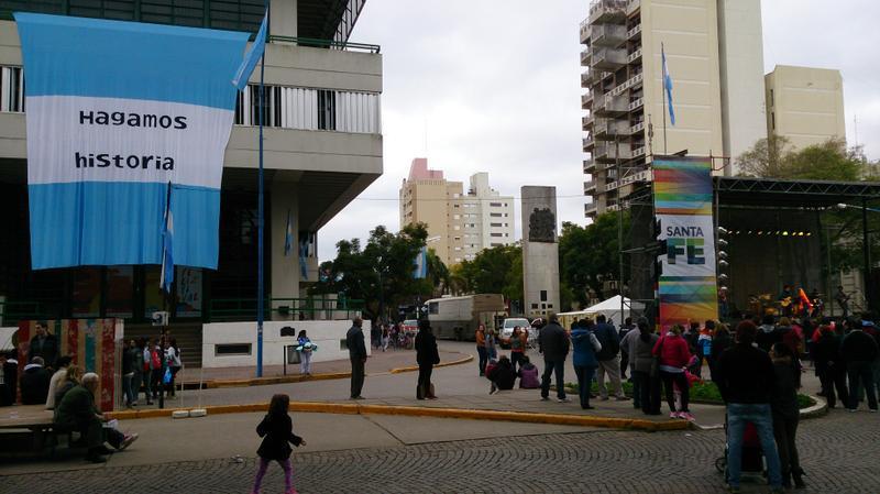 Puesta en escena de los festejos centrales en Rafaela