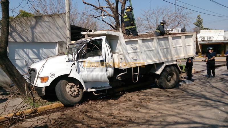 Camión municipal se estrelló contra el arbolado