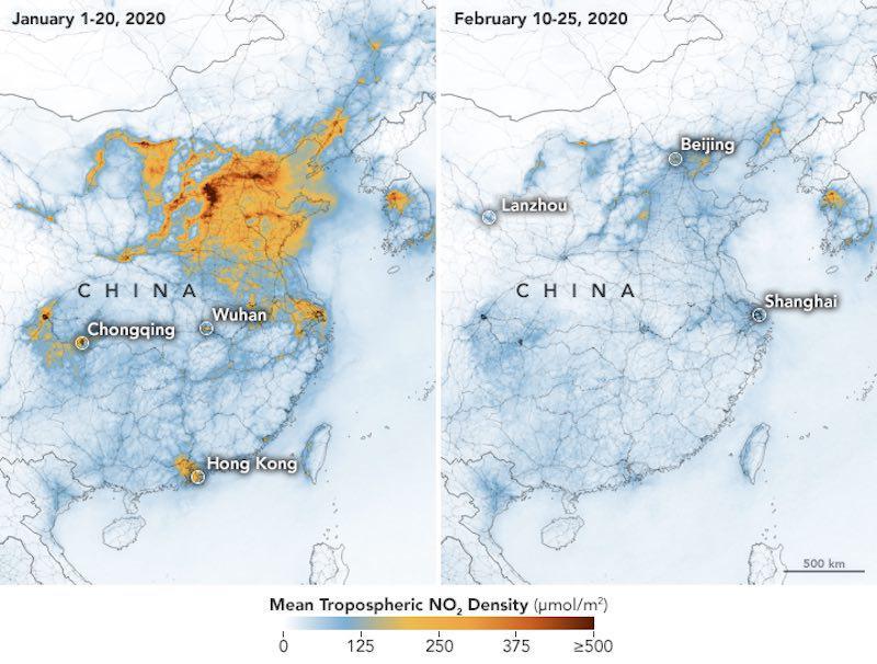 Menos contaminación en China - Nasa1