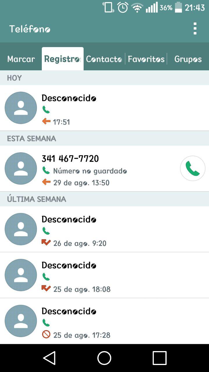 Regitros de llamadas desde Calls Centers