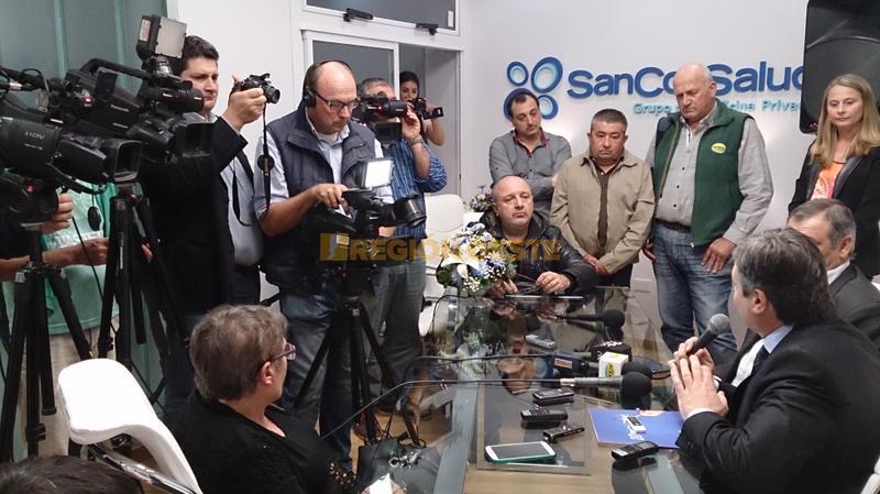 Conferencia de prensa en las nuevas instalaciones de Sancor Salud en Rafaela